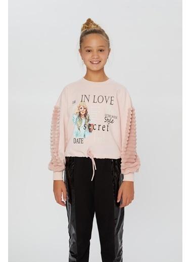 Little Star Little Star Kız Çocuk Eteği Kordonlu Sweatshirt Pudra